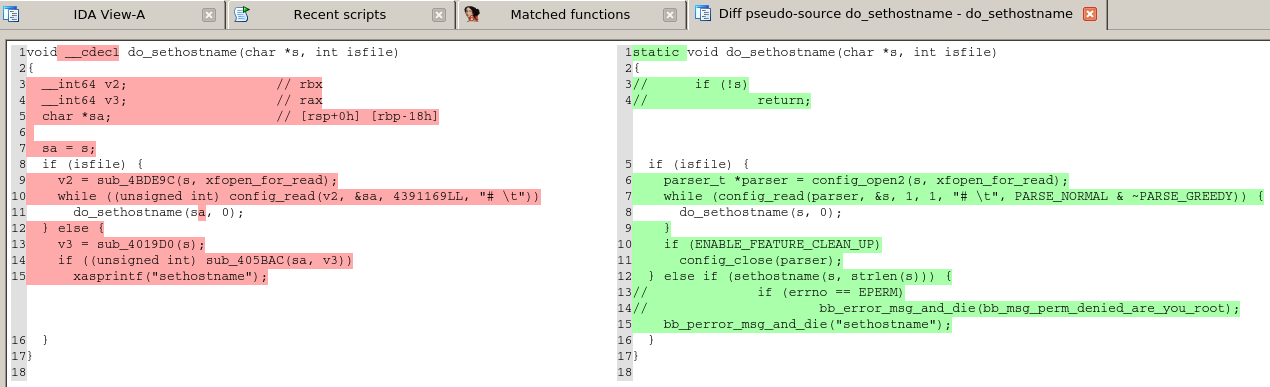 A match between the source code and the binary Busybox function do_sethostname().